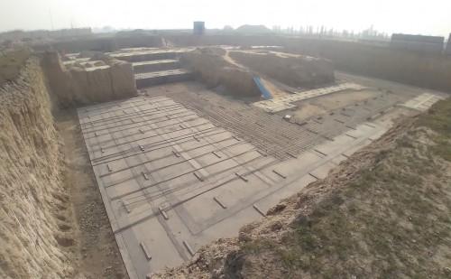 AUDITORIUM  –  Footing PCC work  in completed steel work in progress 01.02.2021