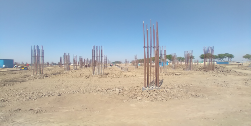 Academic block – 1st pit Column casting work in completed & soil filling work in progress 19.04.2021