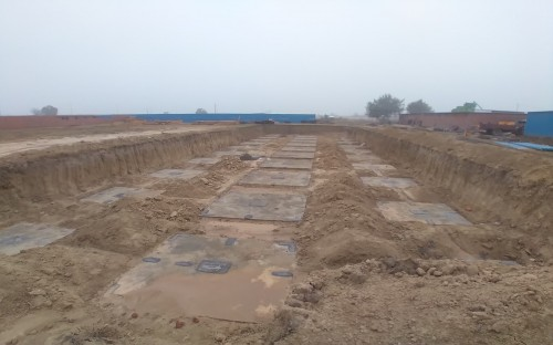 HVAC PLANT ROOM -  Footing PCC work completed & layout in progress - (14-12-2020)