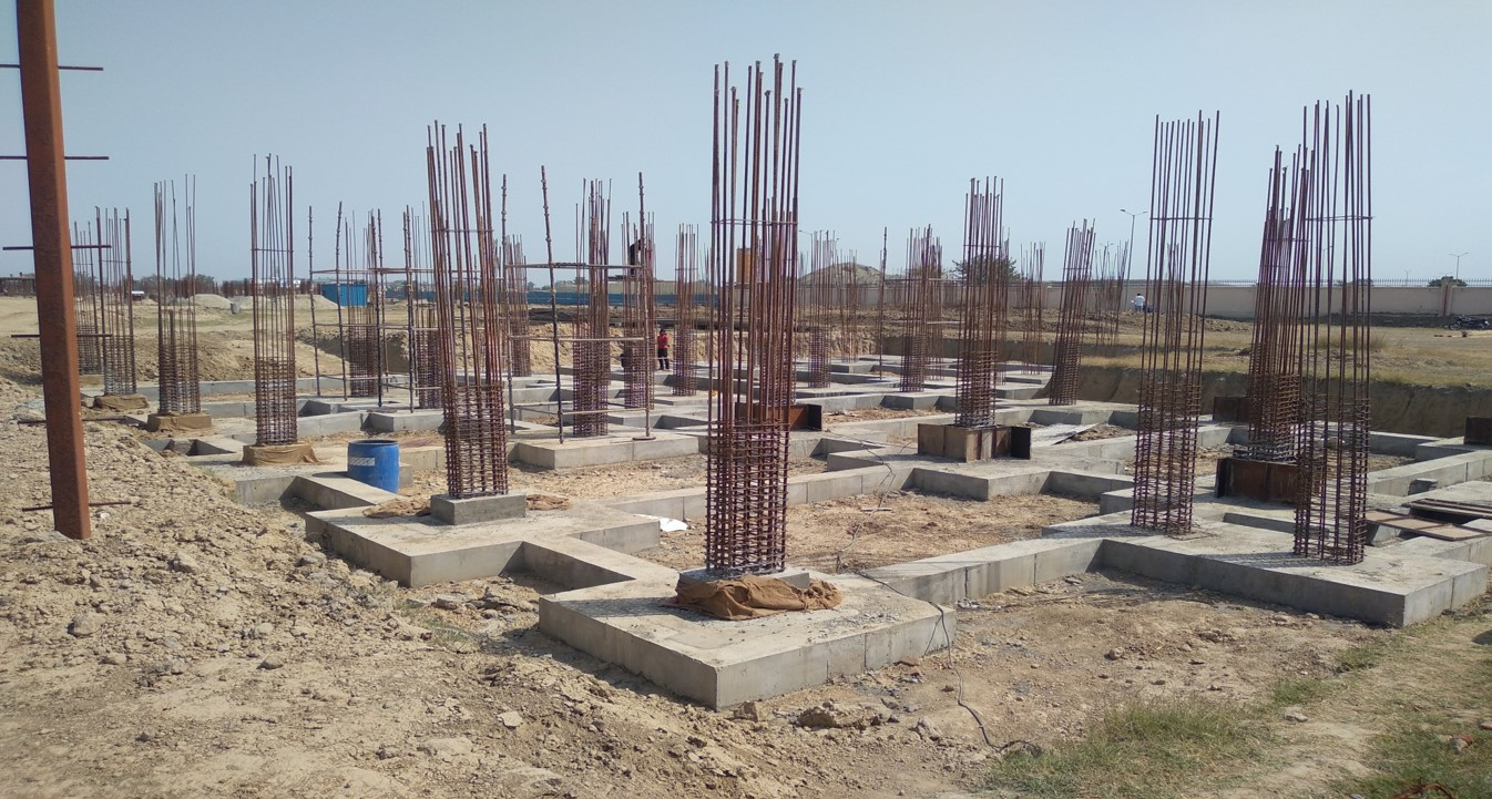 COMMUNITY CENTER -Footing casting works in completed layout work in progress 12.04.2021