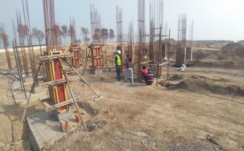Director's residence – Column casting work in progress  Column steel ring work in progress 01.02.2021