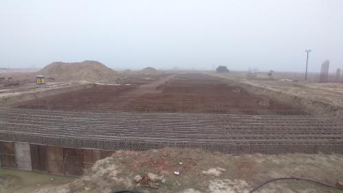 Faculty & Admin block –  Raft steel placing in progress 11.01.2021