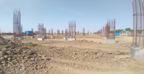 Academic block – 1st pit Column casting work in completed & soil filling work in progress 12.04.2021