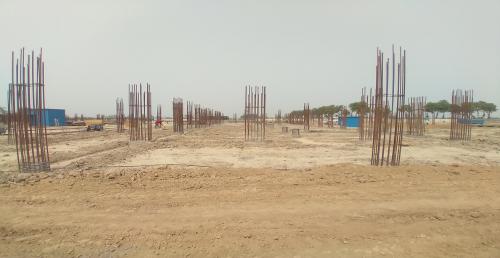 Academic block – 1st pit soil filling work in completed grade slab work in progress 04.05.2021