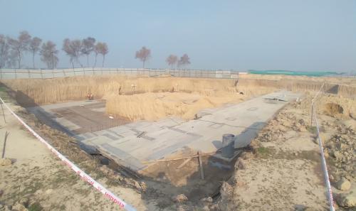 AUDITORIUM  –  Footing PCC work  in completed steel work in progress 08.02.2021