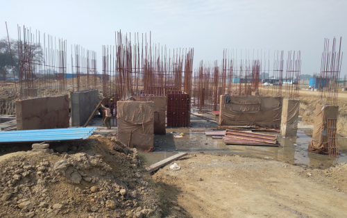 Hostel Block H7- Raft RCC work Completed layout in progress column casting & shear wall work in progress 01.03.2021