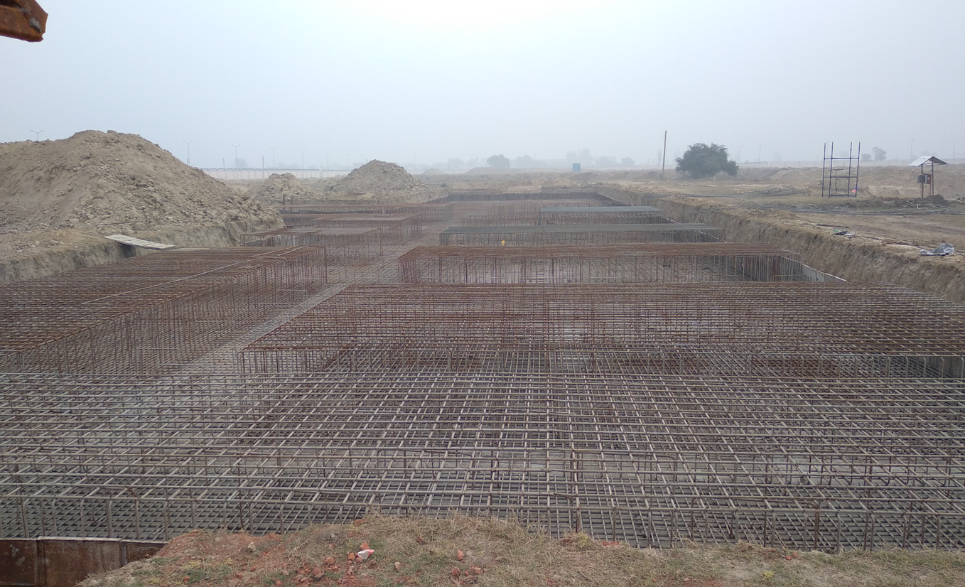 Faculty & Admin block –  Raft steel placing in progress (28.12.2020)