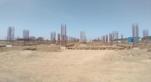 Academic block – 2nd pit soil filling work in completed grid slab works in progress 12.04.2021