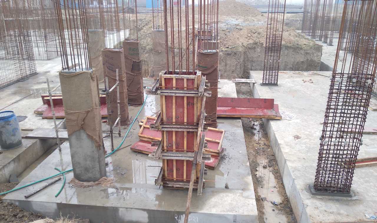 Hostel Block H6 – Raft RCC work Completed column casting work in completed 16.02.2021