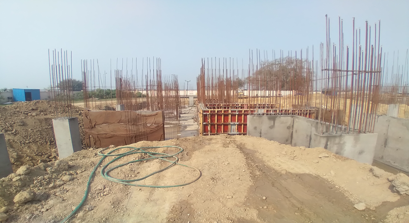 Hostel Block H1 – layout work in completed column casting work in progress 09.03.2021