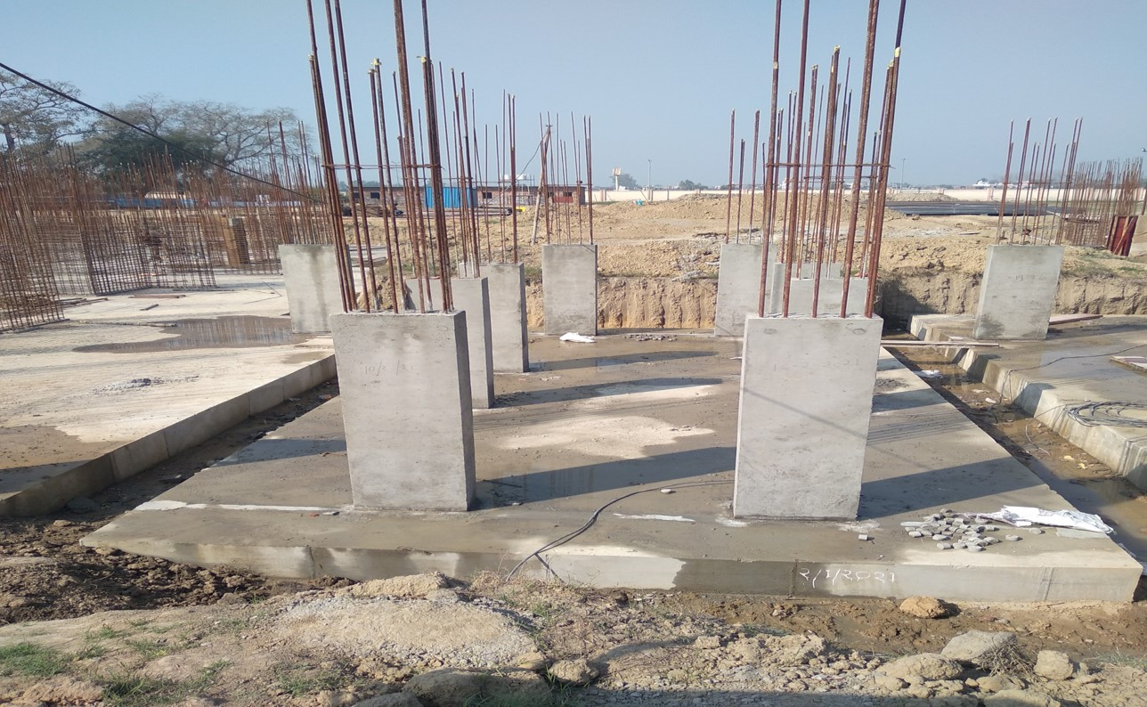 Hostel Block H6 – Raft RCC work Completed column casting work in completed 01.03.2021