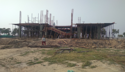 Director's residenceDirector's residence – Column casting  work in completed slab shuttering work in progress 11.05.2021
