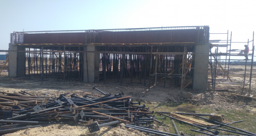 CAFETERIA & SHOPPING - RCC Footing  work completed steel work in progress column casting work in progress slab shuttering work in progress 26.04.2021
