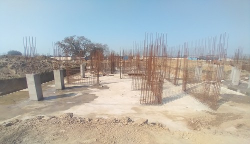 Hostel Block H5 – column layout work in progress &column casting work in progress 01.03.2021